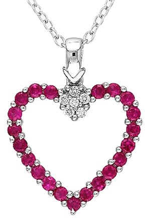 Other Sterling Silver Created Ruby And Diamond Heart Love Pendant Necklace 18 0.68 Ct