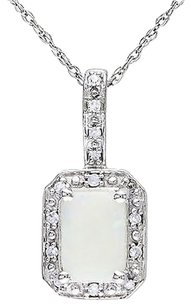 10k White Gold Opal And Diamond Pendant Necklace