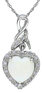 Other Sterling Silver 1 15 Ct Tgw Opal Heart Pendant Necklace G-h I2-i3 18 Chain