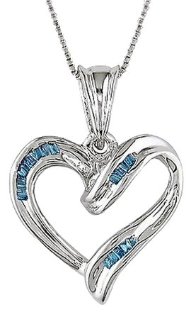 Other Silver Tapered Baguette Blue Diamond Heart Pendant Necklace On 18 Box Chain