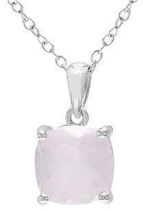 Other Sterling Silver 2.2 Ct Tw 8 Mm Cushion Rose Quartz Solitaire Pendant With Chain