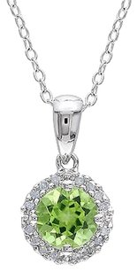 Sterling Silver 1 Ct Tw Diamond And Peridot Fashion Pendant With Chain Gh I3