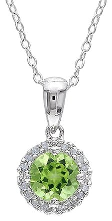 Other Sterling Silver 1 Ct Tw Diamond And Peridot Fashion Pendant With Chain Gh I3
