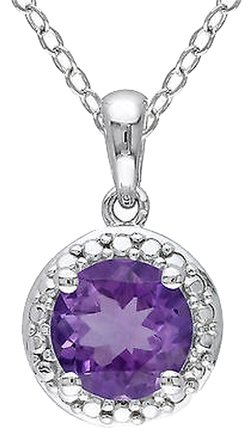 Other Sterling Silver 1 13 Ct Tgw Amethyst Fashion Pendant Necklace With Chain