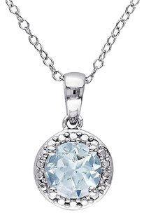Sterling Silver 1 17 Ct Tgw Aquamarine Fashion Pendant Necklace With Chain