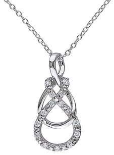 Other Sterling Silver 16 Ct Diamond Eternal Interlocking Inifinty Necklace 18