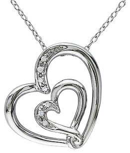 Other Sterling Silver Diamond Heart Heart Pendant Mom Inscription Necklace W Chain 925