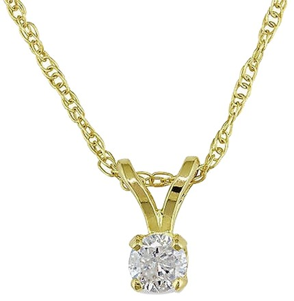 Other 14k Yellow Gold 110 Ct Diamond H-i-j I2-i3 Pendant Necklace With Chain