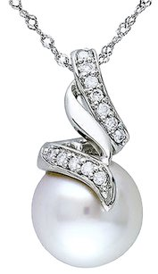 14k White Gold 110 Ct Diamond 9-10 Mm White South Sea Pearl Pendant Necklace