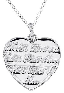 Other Sterling Silver Diamond Heart Worlds Best Mom Pendant Necklace W Chain