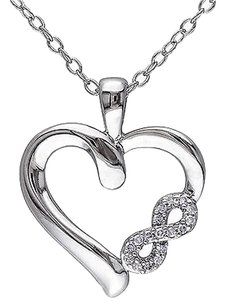 Other Sterling Silver Diamond Heart Infinity Love Pendant Necklace W Chain Gh I2i3