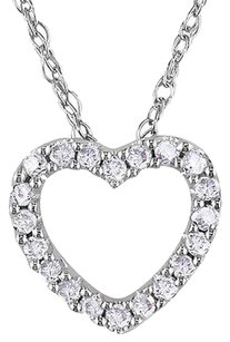 Other 10k White Gold 110 Ct Diamond Tw Heart Pendant Necklace With Chain Gh I2i3