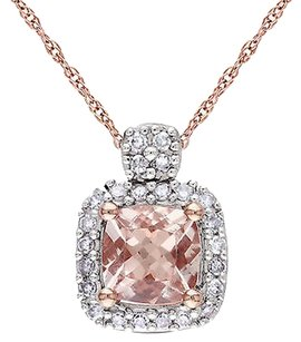Other 10k Pink Gold 110 Ct Diamond 35 Ct Tgw Morganite Fashion Pendant Necklace