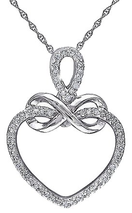 Other 10k White Gold 15 Ct Diamond Tw Eternal Infinity Love Heart Necklace 18