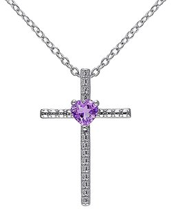 Other Sterling Silver 13 Ct Tgw Amethyst Fashion Religious Pendant Necklace