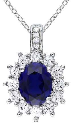 Other Sterling Silver Diamond Blue And White Sapphire Pendant Necklace G-h I3 4.2