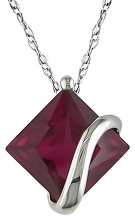 Other Amour 10k White Gold 3 Ct Cttw Ruby Pendant Necklace