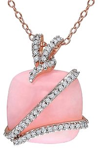 Other Sterling Silver Pink Opal And Diamond Fashion Pendant Necklace H-i I3 18 Chain