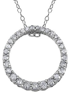 Other Sterling Silver 13 Ct Diamond Tw Circle Pendant Necklace With Chain I3
