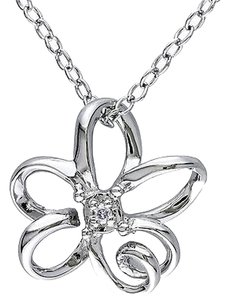 Other Sterling Silver Diamond Flower Pendant Necklace With Chain 925 Gh I2i3