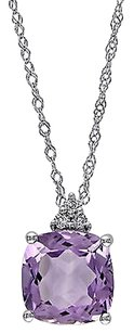 Other 10k White Gold Diamond And 1 34 Ct Amethyst Fashion Pendant Necklace Gh I2i3