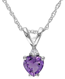 10k White Gold Diamond 38 Ct Tgw Amethyst Heart Love Pendant Necklace Chain
