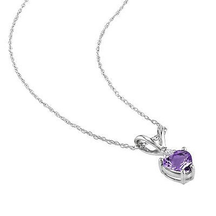 Other 10k White Gold Diamond 38 Ct Tgw Amethyst Heart Love Pendant Necklace Chain