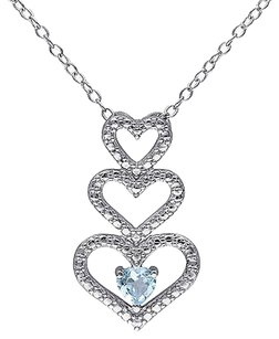 Other Sterling Silver 13 Ct Sky Blue Topaz Triple Stacked Heart Love Pendant Necklace