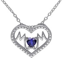 Other Sterling Silver 14 Ct Blue Sapphire Heart Heart-in-heart Love Pendant Necklace