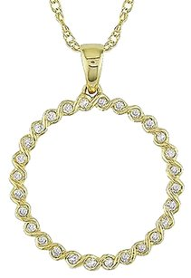 10k Yellow Gold .15 Ct Diamond Diamond Spiral Wire Pendant W Chain I2-i3