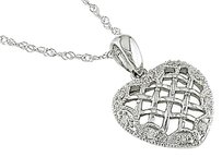 Other 10k White Gold Diamond Heart Love Pendant Necklace I3
