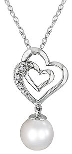 Other 10k White Gold Diamond 7-8 Mm Freshwater Pearl Heart Pendant Necklace Gh I1i2