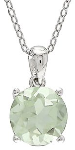 Sterling Silver 1.85 Ct 8 Mm Round Green Amethyst Solitaire Pendant With Chain