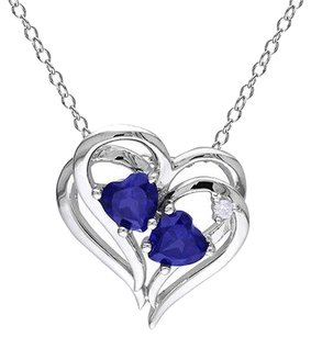 Other Sterling Silver Diamond Blue Sapphire Double Interlock Heart Pendant Necklace