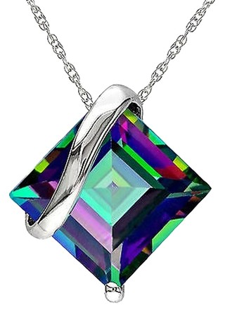 Other 10k White Gold 3 Ct Tgw Exotic Green Topaz Geometric Fashion Pendant With Chain