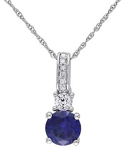 10k White Gold Diamond And 1 16 Ct White And Blue Sapphire Pendant With Chain