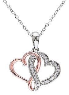 Other White Pink Silver 17 Ct Diamond Interlock Heart Double Love Pendant Necklace