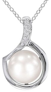 Sterling Silver Freshwater Freshwater Pearl And Diamond Pendant Necklace 9-10 Mm