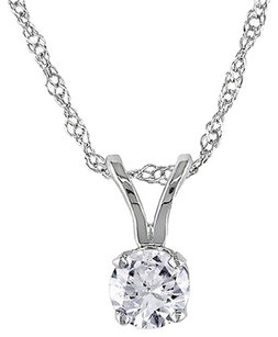 Other 14k White Gold 14 Ct Round Diamond Solitaire Pendant Necklace With Chain I1-i2