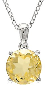 Other Sterling Silver 1.75 Ct Tw 8 Mm Round Citrine Solitaire Pendant With Chain