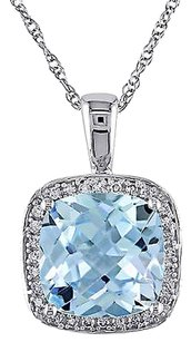 Other 10k White Gold 110 Ct Diamond And 4 14 Ct Sky Blue Topaz Pendant W Chain