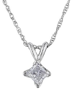 14k White Gold 13 Ct Princess Cut Diamond Solitaire Pendant W Chain J-k I2-i3