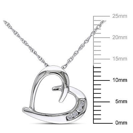 Other 10k White Gold Diamond Love Heart Pendant Necklace With Chain Gh I2i3