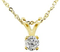14k Yellow Gold 110 Ct Diamond Solitaire Pendant Necklace With Chain I1-i2