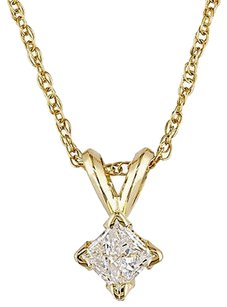 Other 14k Yellow Gold 14 Ct Princess Cut Diamond Solitaire Pendant W Chain J-k I2-i3