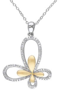Other Two-tone Sterling Silver 110 Ct Diamond Butterfly Pendant Necklace Chain