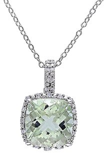Sterling Silver 4.104 Ct Tw Diamond And Green Amethyst Pendant W Chain Gh I3