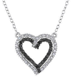 Other Sterling Silver 13 Ct Black And White Diamond Heart Pendant Two Tone Necklace