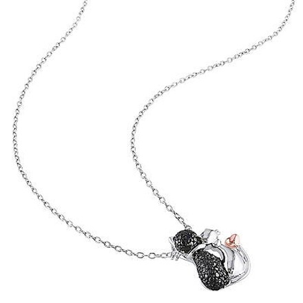Other Sterling Silver Black Diamond Fashion Two- Tone Cat Pendant Necklace With Chain