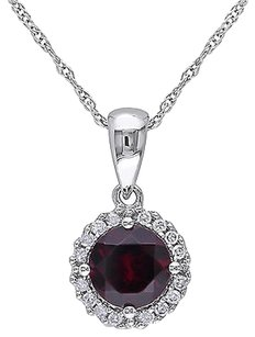 Other 10k White Gold 110 Ct Diamond 1 Ct Garnet Fashion Pendant Necklace Gh I2i3